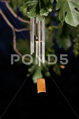 Stock photo of Wind chime at night