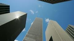 Skyscraper tall corporate office buildings timelapse Stock Footage