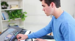 Young Man Teen Male Composing Music Profile View Stock Footage
