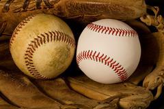 Old and new baseballs Stock Photos