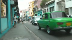Havana Street And Old Cars Cuba Stock Footage