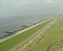 Aerial shot Dutch sea defence Hondsbossche Zeewering Stock Footage