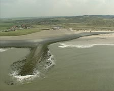 Dune landscape and South side of Dutch sea defence Hondsbossche Zeewering Stock Footage