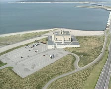 Artificial island Neeltje Jans, south side, Eastern Scheldt storm surge barrier Stock Footage