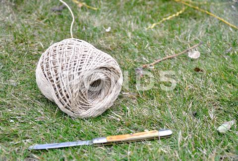 Stock photo of twine and a knife