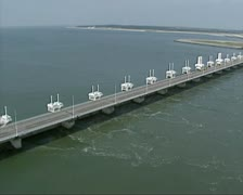 Stock Video Footage of Aerial shot Eastern Scheldt storm surge barrier, Dutch Delta Works