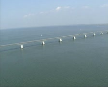 Zeeland bridge spanning the Eastern Scheldt estuary - wide shot. Stock Footage