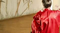Female martial artists in the room. sequence Stock Footage