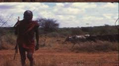 Massai, Kenya, Africa, 1970 (vintage 8mm film) - stock footage