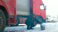 Truck driver quick lunch on the road Stock Footage