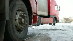 Trucks TIR in the winter Stock Footage