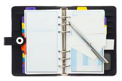 credit cards and personal organizer with pen - stock photo
