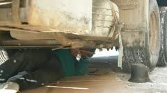Repairing truck on winter road Stock Footage