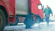 Truck drivers lunch on the way Stock Footage