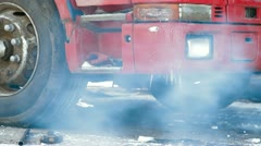 Truck repairing in the winter Stock Footage