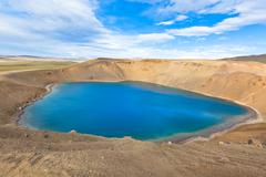 Crater of an extinct volcano krafla in iceland filled with water Stock Photos
