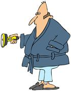 Man in a robe holding a flashlight Stock Illustration