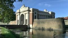 Menin Gate, city wall & moat, Ieper, Belgium Stock Footage