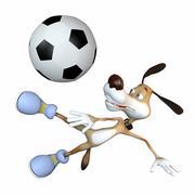 Stock Illustration of amusing dog football player.