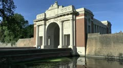 Menin Gate, city wall and moat, Ieper, Belgium Stock Footage