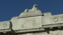 Lion sculpture & inscription on the Menin Gate, Ieper, Belgium Stock Footage