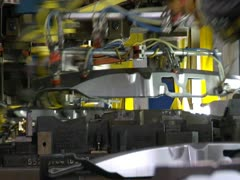 Automated Vehicle Assembly Stamping Line Conveyor Belt Robotic Stock Footage