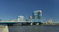 Jacksonville, FL downtown skyline looking across Main Street bridge Stock Footage