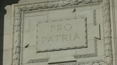 """Pro Patria"" inscription on the Menin Gate, Ieper, Belgium Stock Footage"