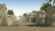 Ancient street with mud huts and a background pyramid Stock Footage