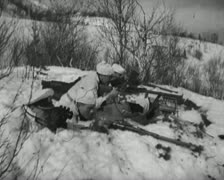 World War 2 - Soldier Trench Stock Footage
