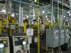 Robotic Assembly Line Steadicam Stock Footage