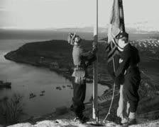 World War 2 - Hoist Flag Stock Footage