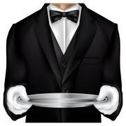 Butler torso dressed in tux Stock Illustration