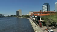 Stock Video Footage of Jacksonville Landing along the riverwalk in Florida