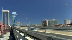 Traffic leaving downtown Jacksonville on Main Street bridge Stock Footage