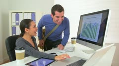 Happy Mexican business woman sharing good news with colleague Stock Footage