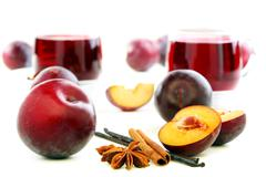 Anise, vanilla and red plum. Stock Photos