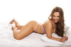 curvaceous woman in lingerie - stock photo