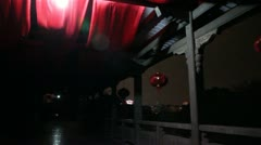 Pan Guilin China stone bridge walkway windy creepy dark people Stock Footage