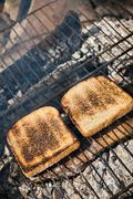toasted bread on the grill - stock photo