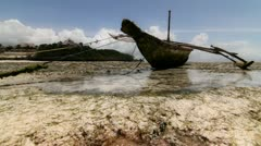 Skiff at low tide in the bay - stock footage