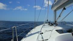 Sailing on luxury yacht in Atlantic ocean near La Gomera Island in Spain. Stock Footage