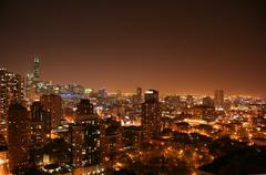 Chicago ilmakuva night view Kuvituskuvat