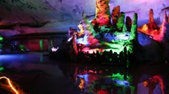 Pan Guilin China famous Seven-Star Cave water lake huge vast cavern Stock Footage
