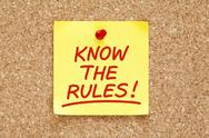 Know the rules sticky note Stock Photos