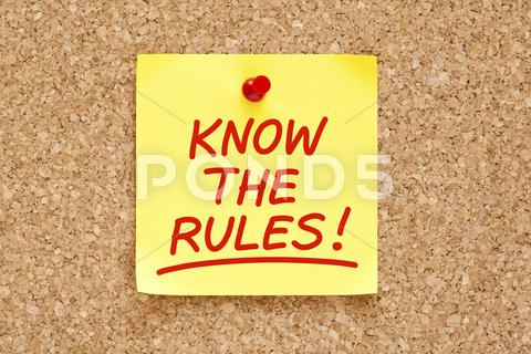 Stock photo of know the rules sticky note