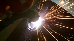 Plasma cutter slicing through hard steel plate fast. Stock Footage