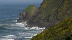 Waves and Cliffs on the Oregon Coast - Close Stock Footage