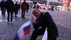 Putin impersonator near the Kremlin - stock footage