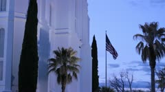 Amican Flag White Building Stock Footage